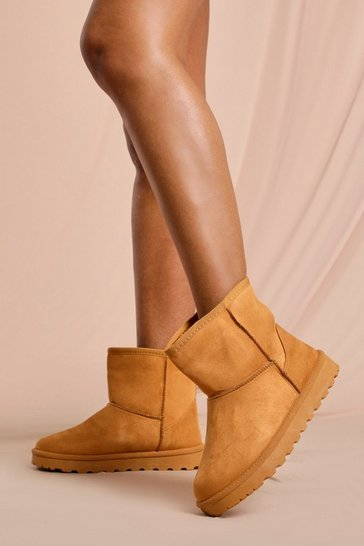 Tan Faux Fur Suedette Ankle Boots