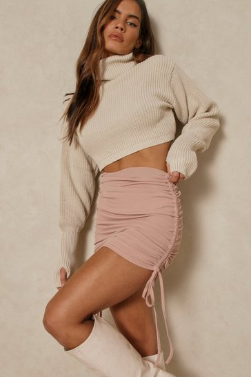 Nude Ribbed Side Ruched Mini Skirt