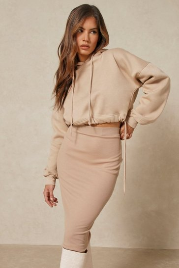 Nude Ribbed Midi Skirt