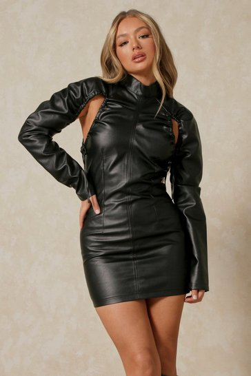 Black Gathered Arm Detail Faux Leather Mini Dress