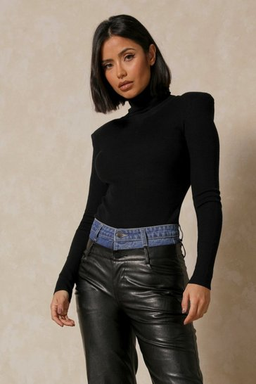 Black Fine Knit Shoulder Extreme Shoulder Pad Top