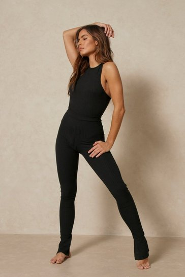 Black Soft Rib Bodysuit And Split Hem Legging Set