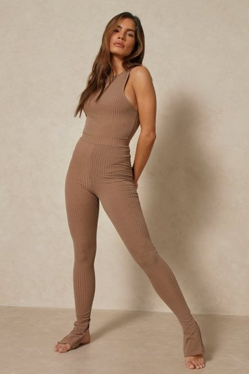 Mocha Soft Rib Bodysuit And Split Hem Legging Set