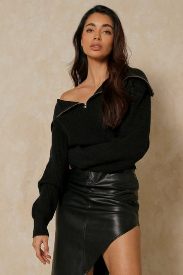 Black Zip Front Collared Knitted Jumper