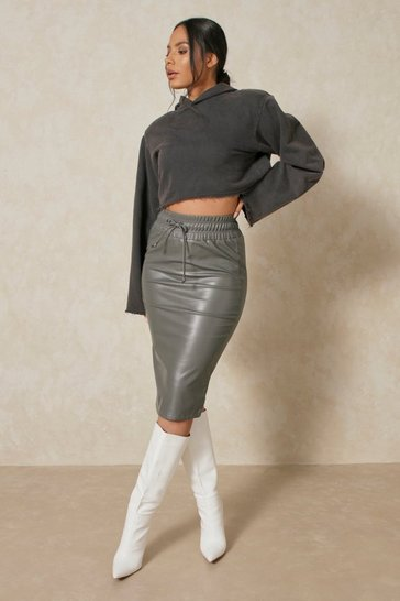 Charcoal Gathered Waist Leather Look Midi Skirt
