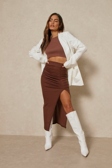 Chocolate Ribbed Side Split Midi Skirt