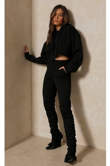 Black Neoprene Extreme Ruched Trouser