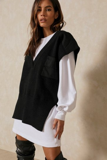 Black Oversized Knitted Vest Jumper