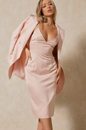 Blush Satin Strap Midi Dress