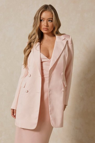 Blush Satin Spliced Longline Blazer
