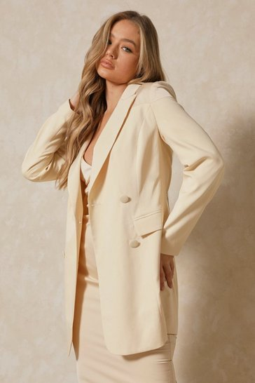 Butter Satin Spliced Longline Blazer