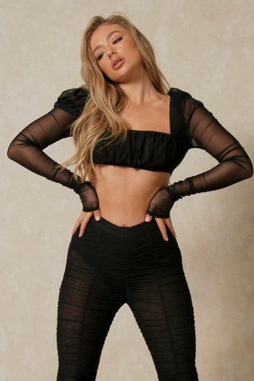 Black Mesh Puff Shoulder Square Neck Crop Top