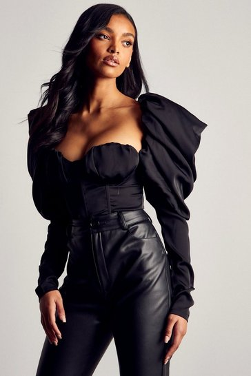 Black Premium Satin Extreme Puff Sleeve Bodysuit