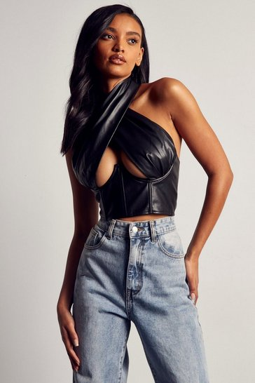 Black Premium Leather Look Cross Over Corset Top