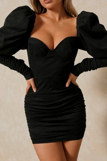 Black Premium Puff Shoulder Suedette Mini Dress
