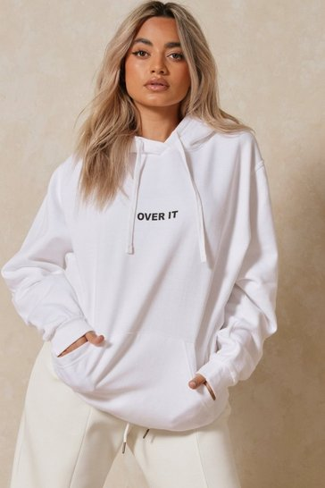 White Over It Slogan Oversized Hoodie