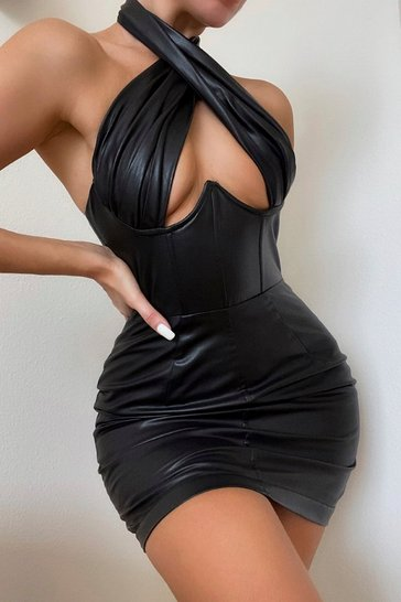 Black Premium Leather Look Cross Over Corset Dress