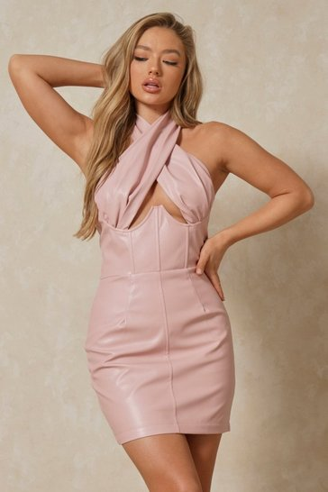 Pink Premium Leather Look Cross Over Corset Dress