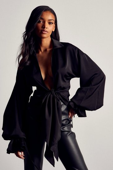 Black Premium Satin Draped Balloon Sleeve Blouse