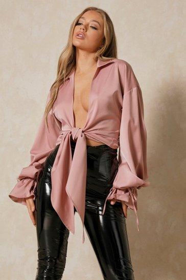 Pink Premium Satin Draped Balloon Sleeve Blouse