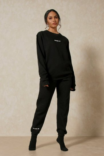 Black Over It Oversized Sweater & Jogger Co-ord