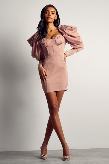 Pink Premium Satin Extreme Puff Shoulder Mini Dress
