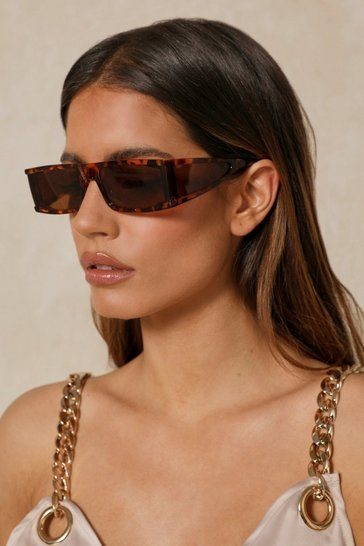 Brown Skinny Square Frame Sunglasses