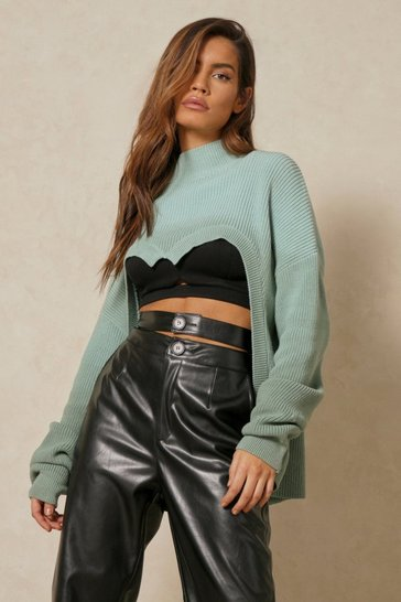 Sage Knitted Ombre Bust Cut Out Jumper