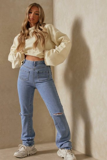 Blue Pocket Front Straight Leg Jean