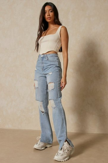 Vintage blue Distressed Split Hem Straight Leg Jean