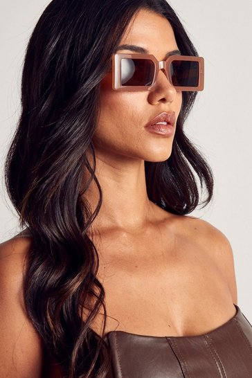Brown Oversized Square Frames Sunglasses