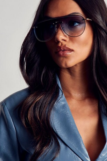 Blue Frameless Aviator Sunglasses