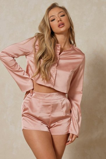 Blush Luxe Satin Shirt And Shorts Pyjama Set