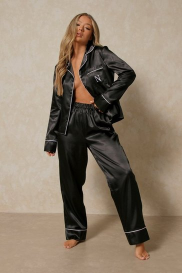 Black Satin Initial Detail Trouser Pj Set - N