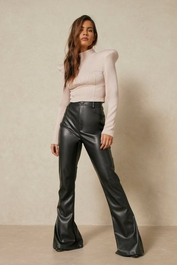 Black Leather Look Wide Leg Trouser