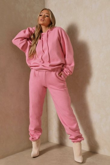 Pink Misspap Embroidered Hoodie & Jogger Set