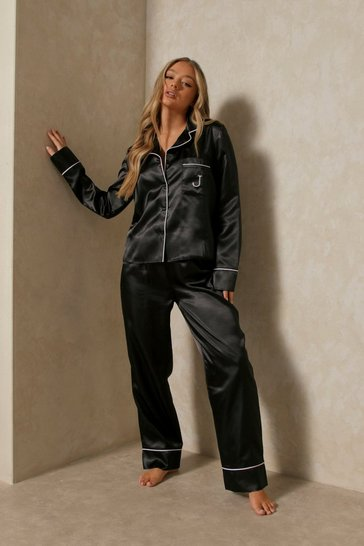 Black Satin Initial Detail Trouser Pj Set - J