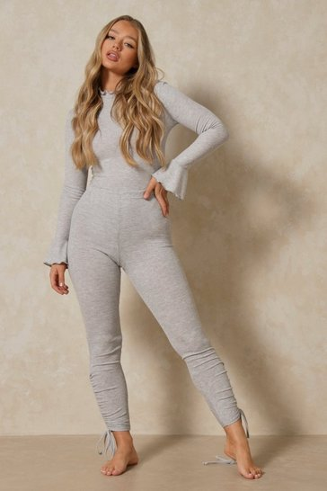 Grey marl Ruched Hem Ribbed Legging