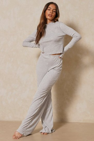Grey marl Lettuce Hem Wide Leg Co Ord