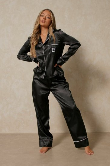 Black Satin Initial Detail Trouser Pj Set - B