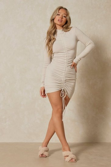 Stone High Neck Ruched Front Ribbed Dress