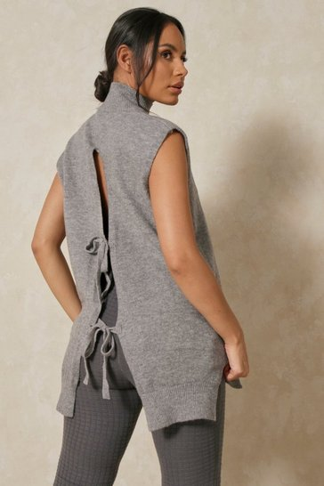 Grey Longline Tie Back Sleeveless Jumper