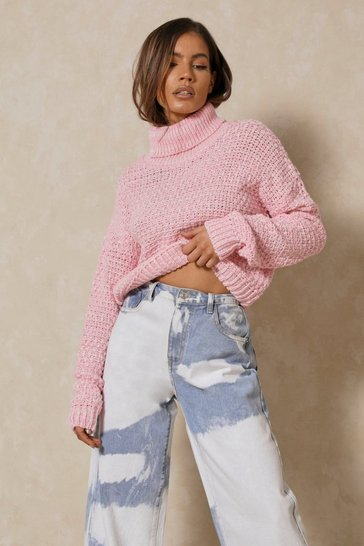 Candy pink Waffle Knit Roll Neck Jumper