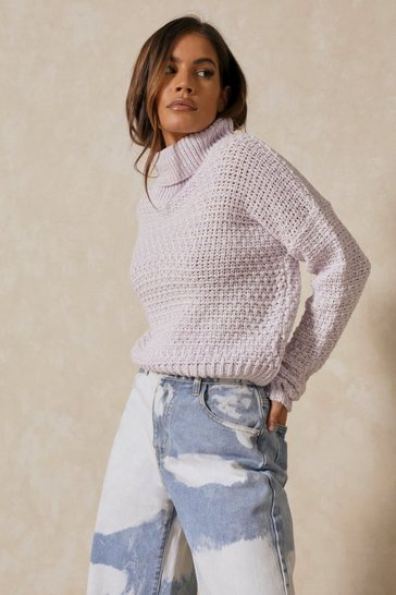 Lilac Waffle Knit Roll Neck Jumper