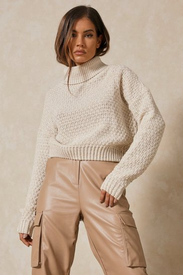 Stone Waffle Knit Roll Neck Jumper