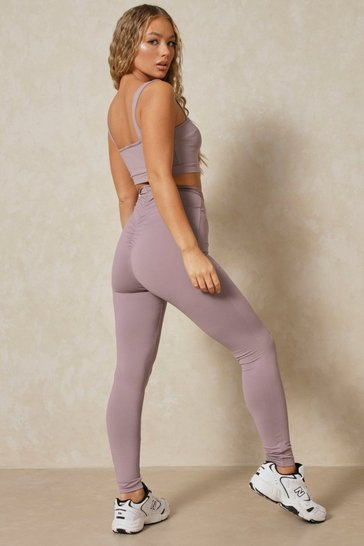Grey Ruched Bum High Waisted Legging