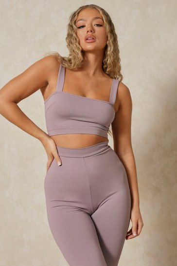 Grey Elastic Tape Crop Top