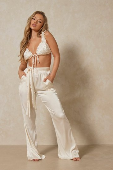 Cream Luxe Satin Tie Waist Wide Leg Pj Bottoms