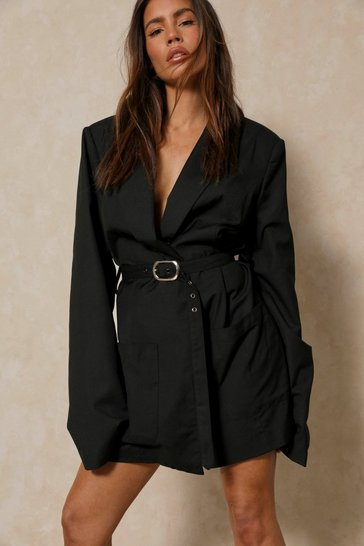 Black Discodaydream Tailored Belted Blazer Dress