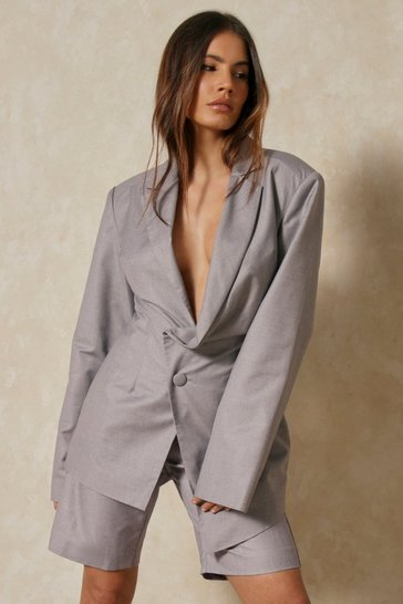 Grey Discodaydream Asymmetric Oversized Blazer